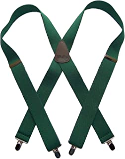 product image for HoldUp Classic Series Dark Green Suspenders in X-back style with Patented Silver-tone No-slip Clips