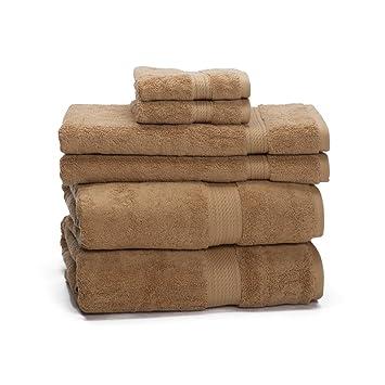 ExceptionalSheets Juego de Toallas de 6 Unidades de Algodón Egipcio de 900 Gramos - Peso Alto y Absorbente por eLuxurySupply, Latte: Amazon.es: Hogar