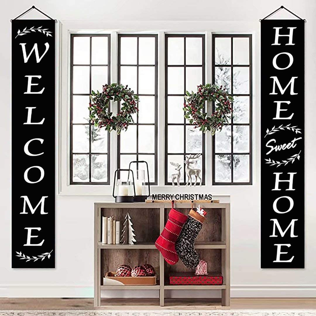Henriyne Funny Welcome Decorations Sign Home Sweet Home Hanging Vertical Porch Banner for Door Decor Yard Holiday Farmhouse 70.8x12 Inch