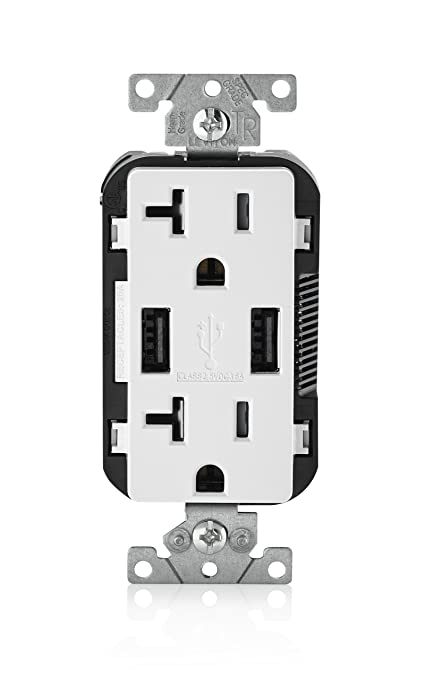 Leviton T5832-W USB Charger/Tamper-Resistant Duplex Receptacle, 20 ...