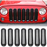 RT-TCZ Upgrade Version Clip-on Grille Front Mesh Grille Inserts for Jeep Wrangler 2007-2015 (Black)