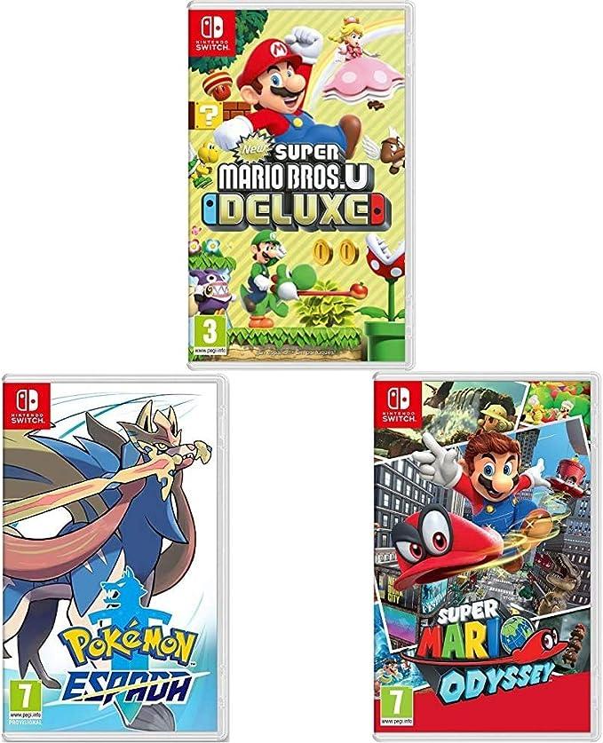 New Super Mario Bros. U Deluxe + Super Mario Odyssey + Pokémon Espada (Nintendo Switch): Amazon.es: Videojuegos