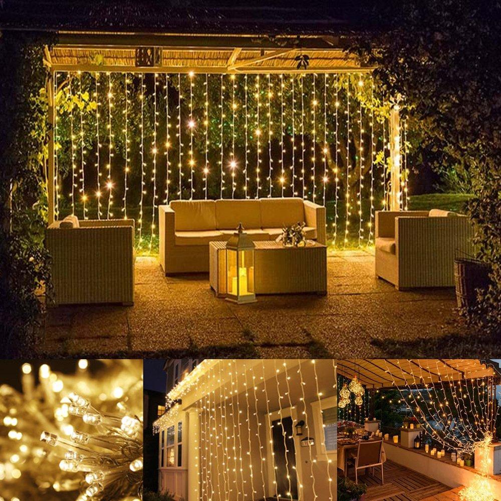 LE Lichterkettenvorhang 306 LEDs, 8 Modi 3m x 3m IP44 wasserfest ...