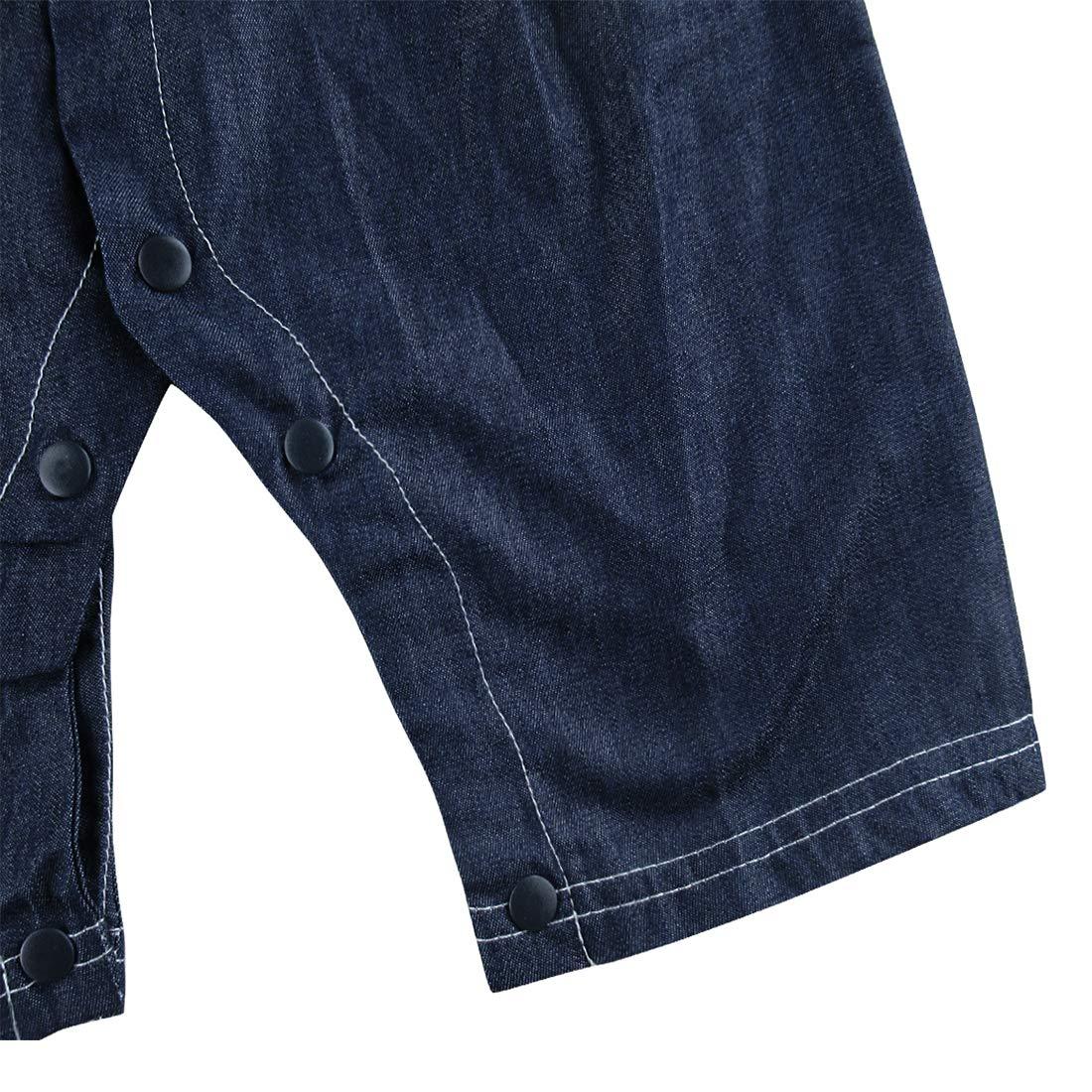 Taille 3-18 Mois A/&J DESIGN B/éb/é Gar/çon Gentilhomme Barboteuse Plaid Chemise Bretelles Denim Jeans avec N/œud Papillon
