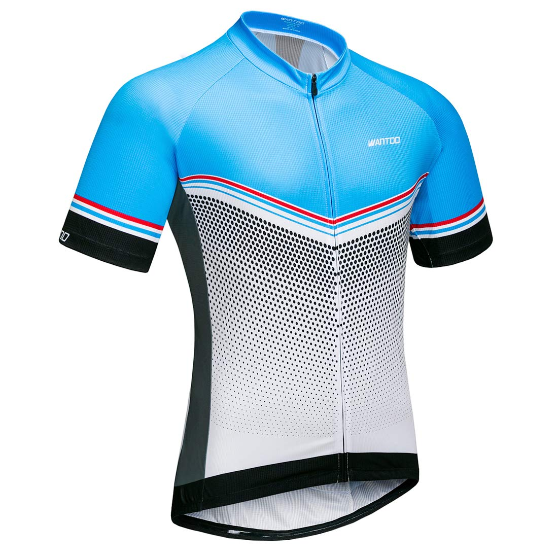 Wantdo メンズ サイクリング ジャージ 半袖 通気性 速乾 バイクシャツ 高伸縮性 しわ防止 通気性 反射 ロードマウンテン バイキング トップス Large ブルーホワイト B07DCSMR2J