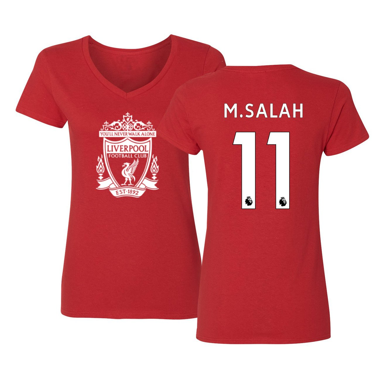 the best attitude f4cd1 c2018 Tcamp Liverpool #11 Mohamed Salah Premier League Women's V-Neck Tshirt