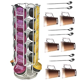 9cd640b738b ADEPTNA 24 Dolce Gusto Revolving Rotating Capsule Coffee Pod Holder Tower  Stand Rack with 6 Latte Glasses and 6 Spoons (24 Capsule Holder)