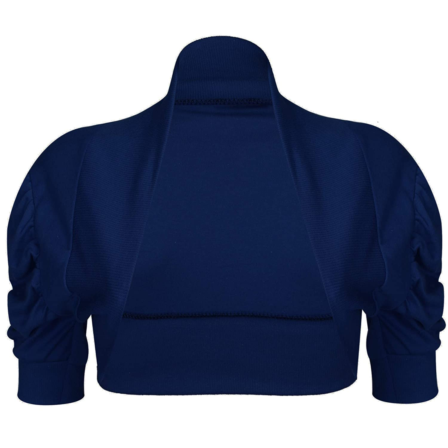Cropped Crop Girls Kids Stretchy Ruched Sleeves Bolero Shrug Cardigan Top (Age 11-12 Years, Navy)
