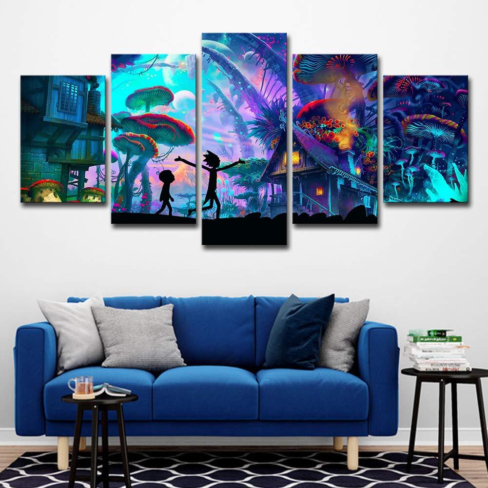 ZEMER Wand-Dekor Rick and Morty Poster Wandkunst Bild Bild Wandkunst Leinwanddrucke Malerei 5 Panels Modern Für Kinderzimmer Home Decor,A,30X45x2+30X60x2+30X75x1 80e5dd