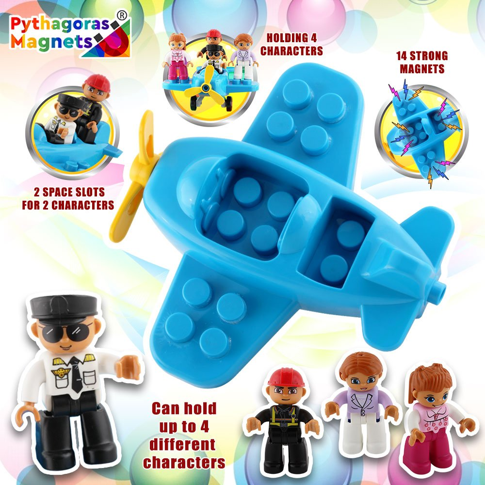 Flying Helicopter Toy Police Set with Magnets Flying Magnetic Plane - Policeman Toys Add on Sets for Magnetic Blocks - Magnetic Tiles Expansion Kids Educational STEM Learning Toys for Boys and Girls by Pythagoras Magnets (Image #6)