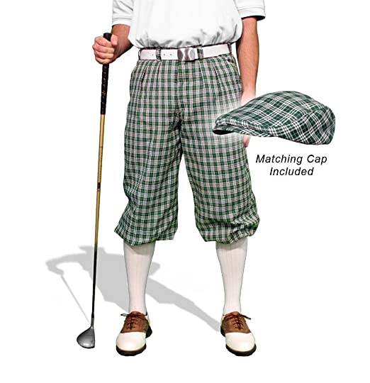 1920s Style Men's Pants & Plus Four Knickers Plaid Golf Knickers & Cap: Mens Par 5 - Sherwood $189.95 AT vintagedancer.com