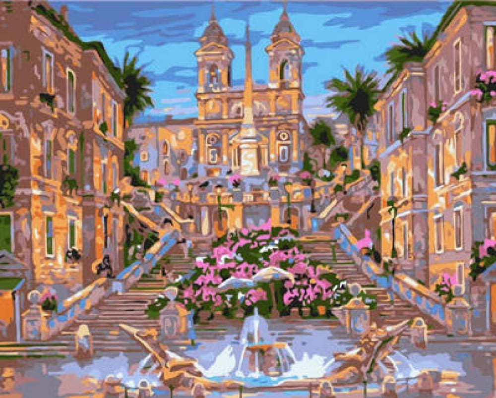 Pintura Mundial Bricolaje Fuente De Flores Abstracto Cuadro Por Números Kits Pintura Número Imagen Láminas De Manualidades Con Pintura Por Números Decoración De Sala 40X50