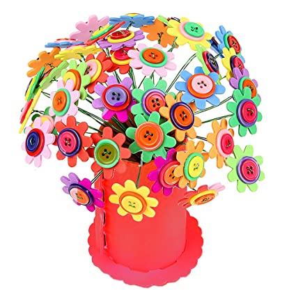mrluoy DIY Craft alambre de hierro botón Juego de ramilletes de fieltro, hacer 40 flores