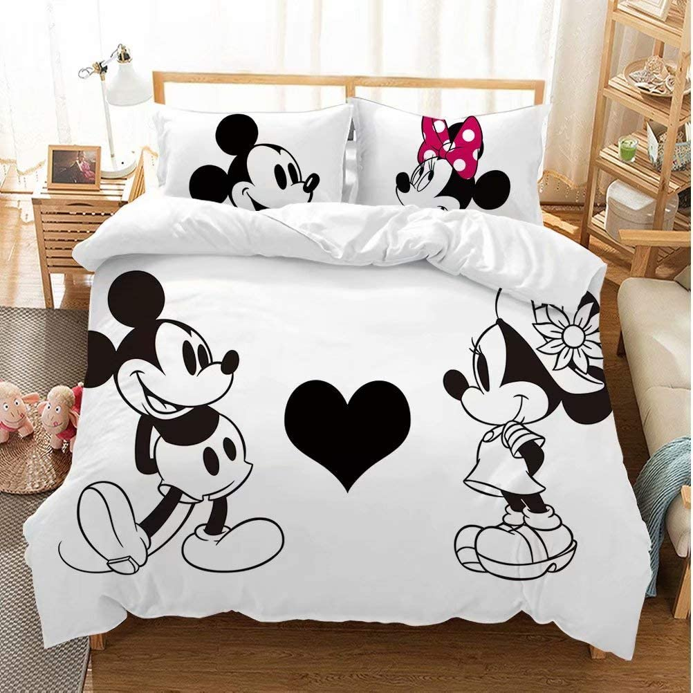 Mickey Minnie Mouse Duvet Cover Sets for Boys Girls Bed Set Super Soft Microfiber White Background Kids Toddler Bedding Sets 3Piece 1Duvet Cover,2Pillowcases Pattern2 Full