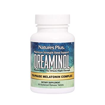 Natures Plus Dreaminol - 1.5 mg Melatonin, 30 Sustained Release Tablets - Maximum Strength Sleep