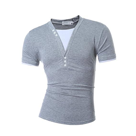 Amazon.com: Miki Da Male NEW Short Sleeve Fake Two T Shirt V-Neck Slim Men T-Shirt Camisetas Fashion Hombre Tee Shirt T Shirts 3XL: Clothing
