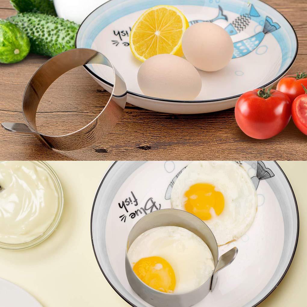 Rolin Roly Antiadh/ésif Outil de Moule Bricolage Oeuf au Plat Moule Omelette Rond Pancake Rings Mould Egg Ring 4 pcs