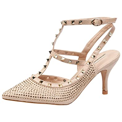 a0d2c2bcf6d3 Feet First Fashion Alisha Womens Mid Heel Studded Diama Gold Nude Faux  Suede 5 UK