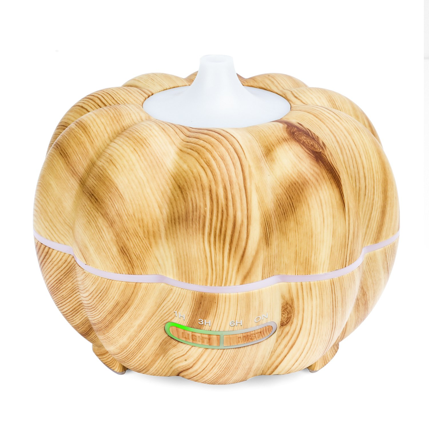 MoKo 300ML Ultrasonic Air Humidifier, Pumpkin Aromatherapy Essential Oil Diffuser with Warm White Night Light Waterless Auto-Off for Office Home Bedroom Room Study Yoga Spa - Wood Color