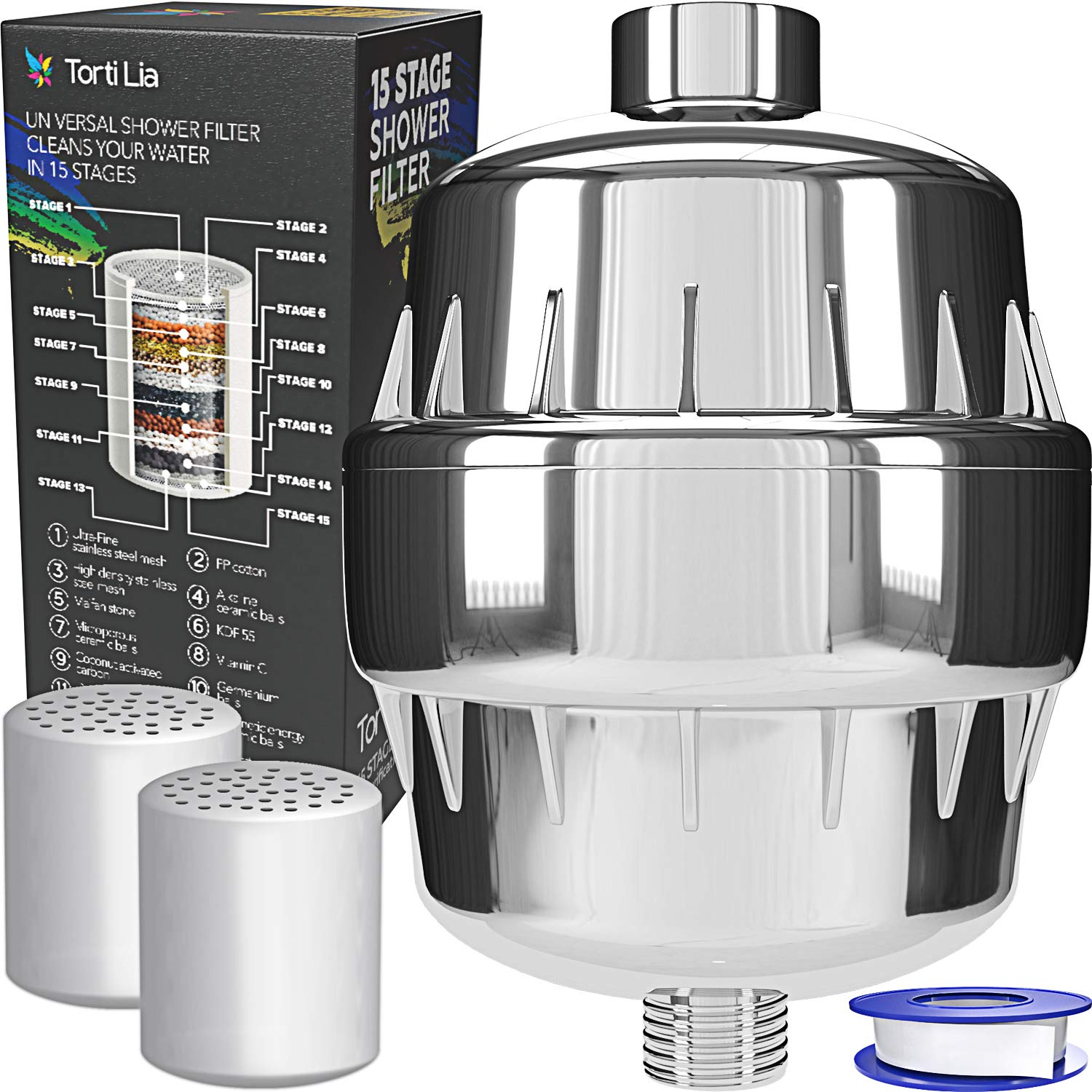 Torti Lia 15 Stage Shower Filter with Vitamin C For Hard Water - 2 Cartridges Included Shower Filters Removes Chlorine Fluoride and Harmful Substances - Showerhead Filter High Output by Torti Lia