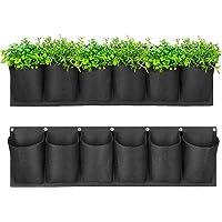 Jiaermei - 6 bolsillos para plantas, pared horizontal, bolsa de plantación de jardín para balcón, patios, apartamentos…