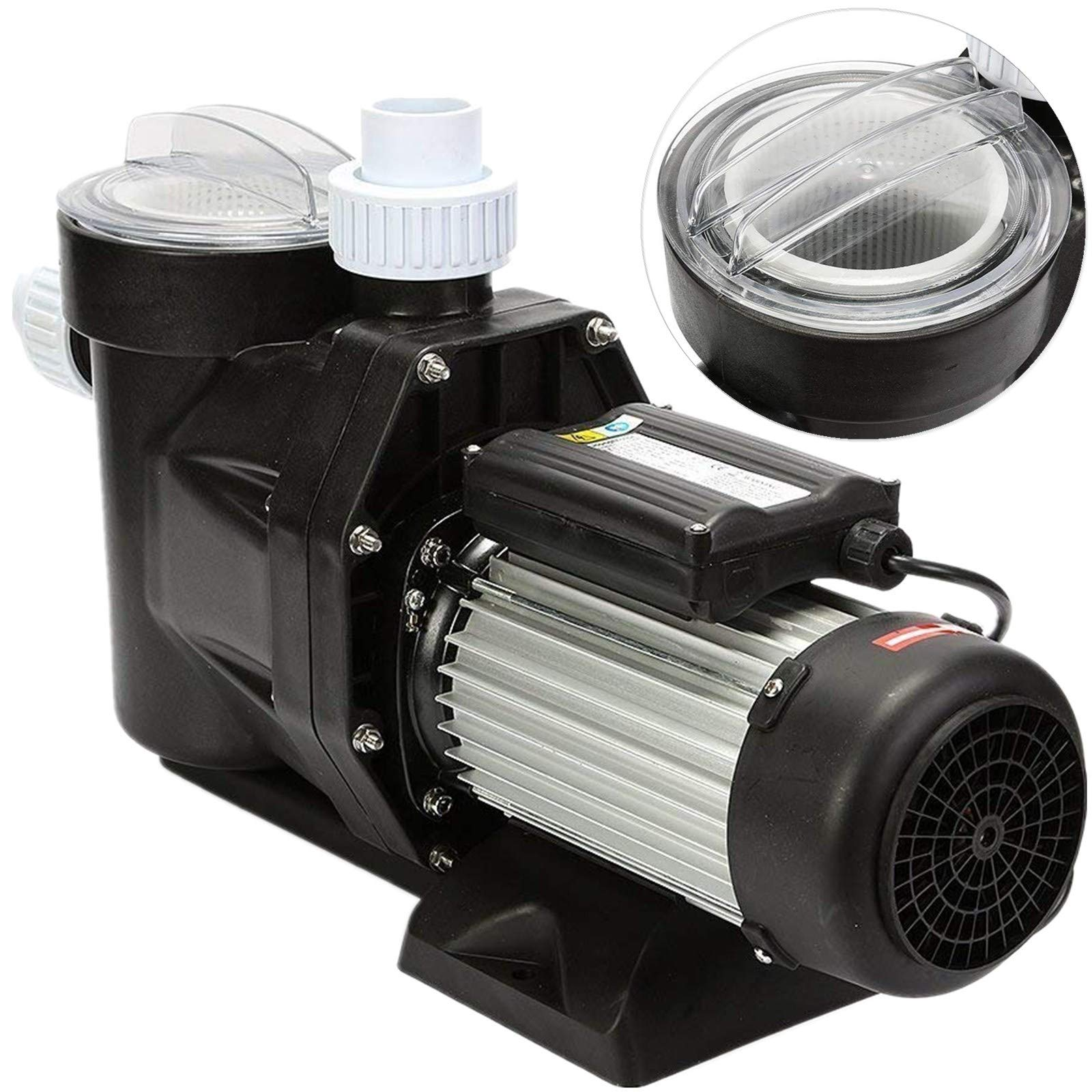 Happybuy Swimming Pool Pump 2.5HP 1850W Above Ground Swimming Pool Pump 148GPM Single Speed Swimming Pool Filter Pump for Pool Spa Water Circulation