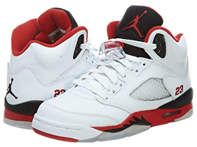 NIKE AIR JORDAN 5 RETRO WHITEFIRE RED-BLACK (USW 4Y-7Y