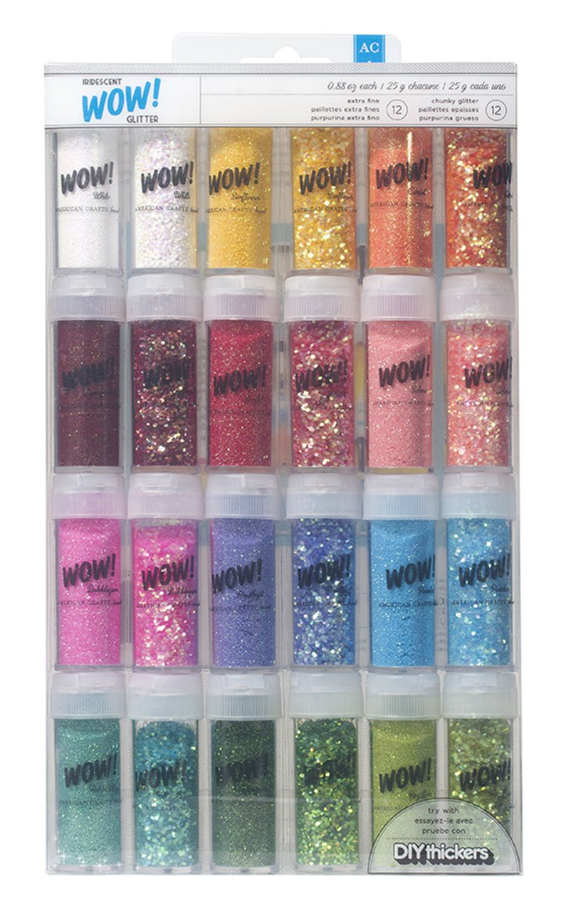 Wow! Iridescent Glitter by American Crafts | 24 pack | Includes 12 bottles of fine glitter and 12 bottles of chunky glitter in assorted colors