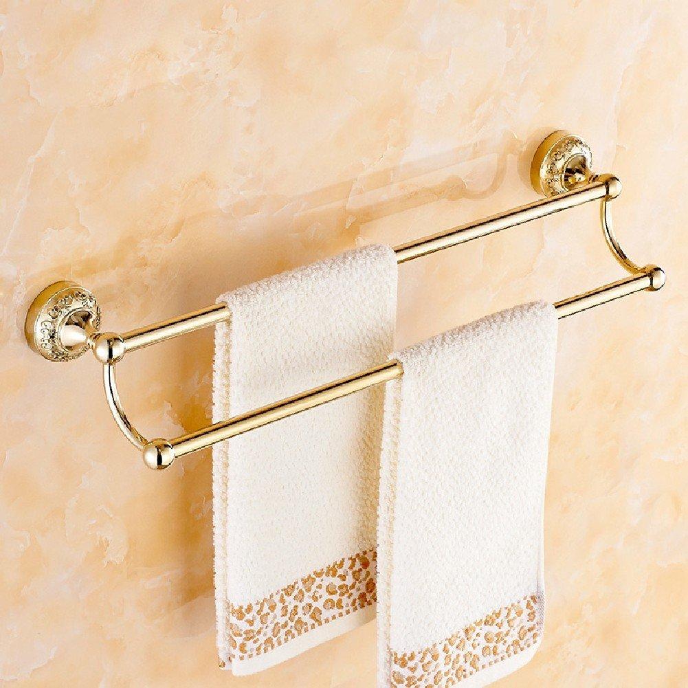 KHSKX Continental carved gold-plated Towel Bar double bathroom Bathroom towel racks towel hanging metal pendants well-wreapped