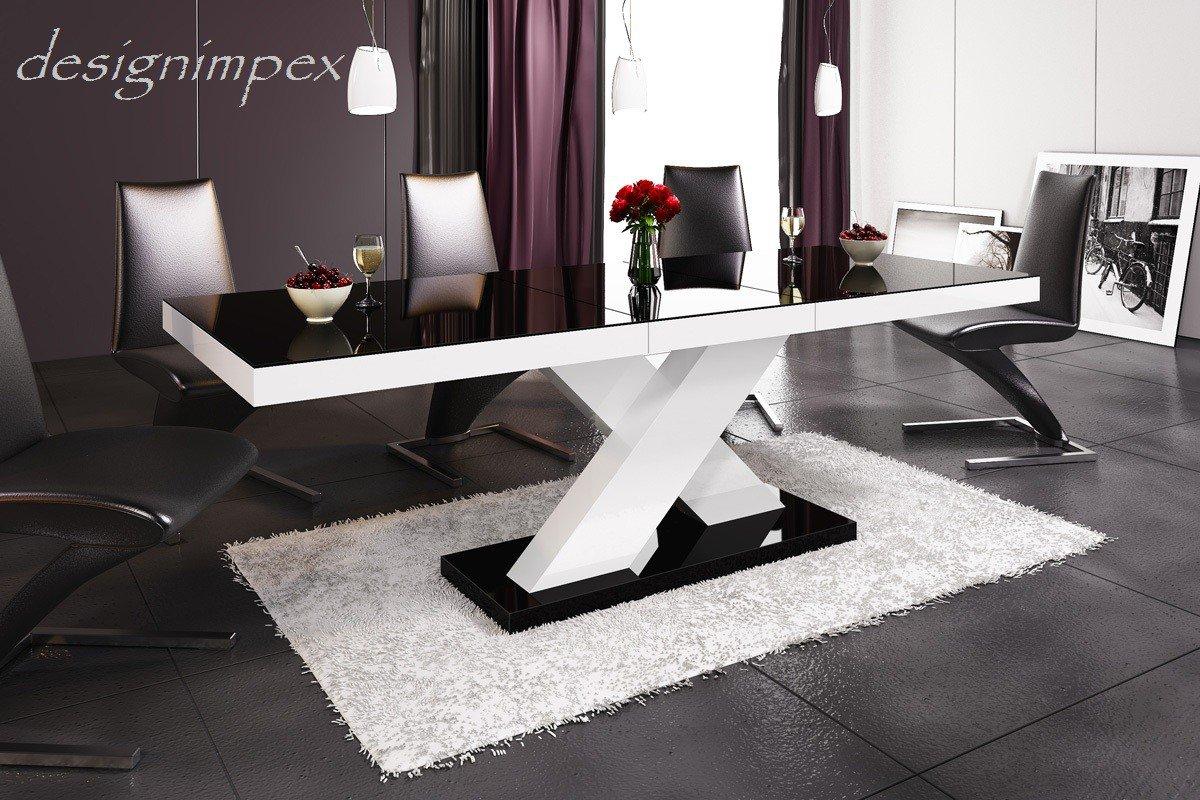 Design Esstisch HE-888 Schwarz / Weiß Hochglanz ausziehbar 160 - 210 cm