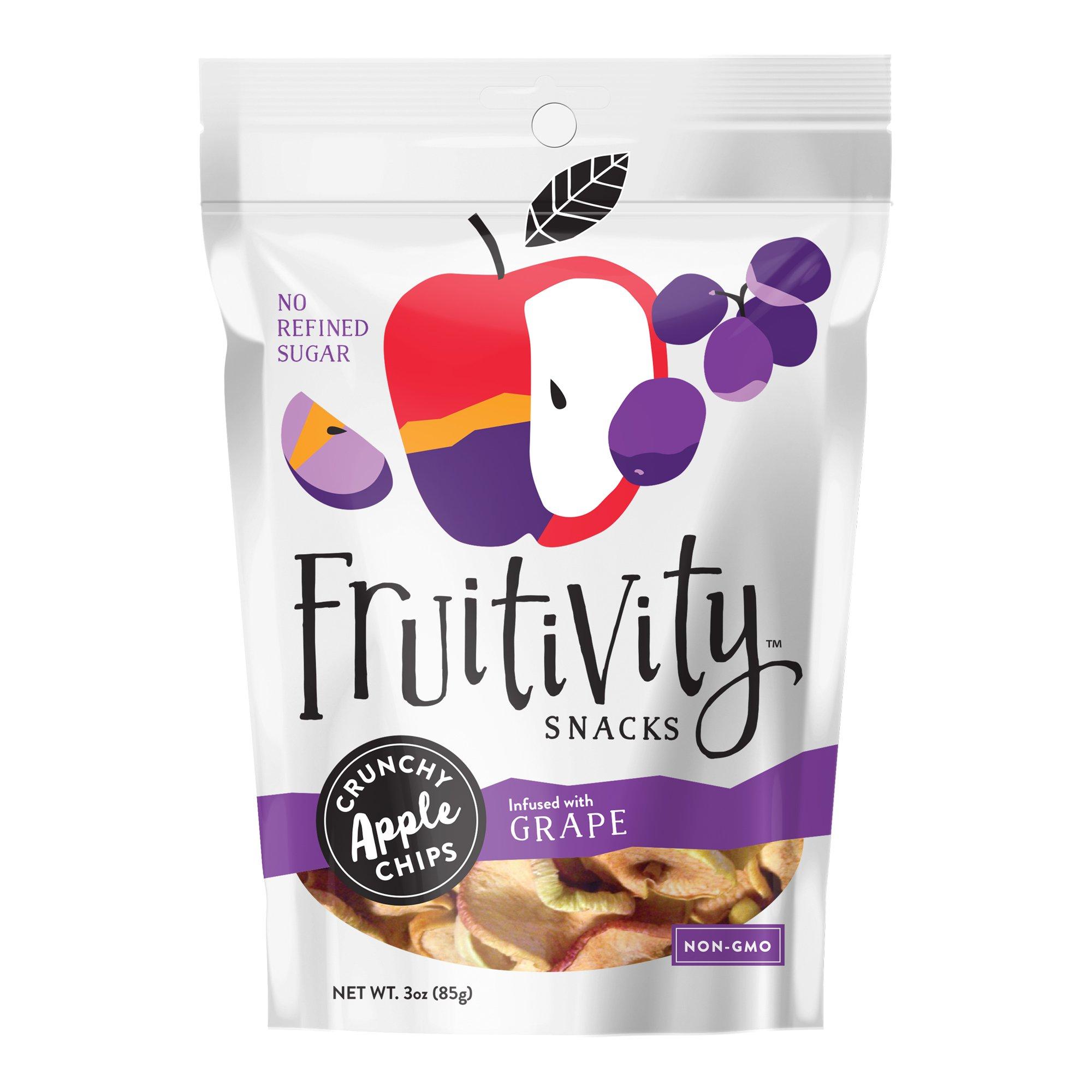 Fruitivity Snacks Crunchy Apple Chips, Grape, 3 oz., 3 Pack