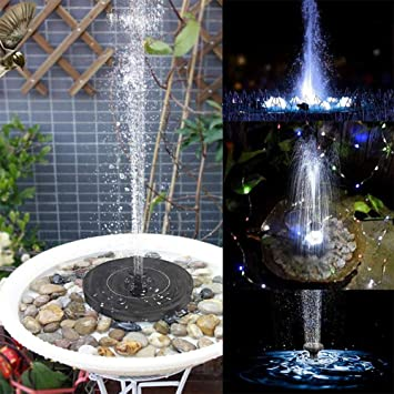 Solar Powered Bird Bath Fountain Freestanding W// 4 Nozzles Solar Fountain Pump