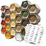 Gneiss Spice Everything Spice Kit: 24 Magnetic Jars Filled with Standard Organic Spices/Hanging Magnetic Spice Rack (Large Ja