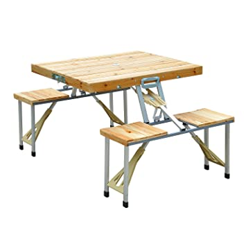 Outsunny Portable Folding Camping Picnic Table Party Field Kitchen ...