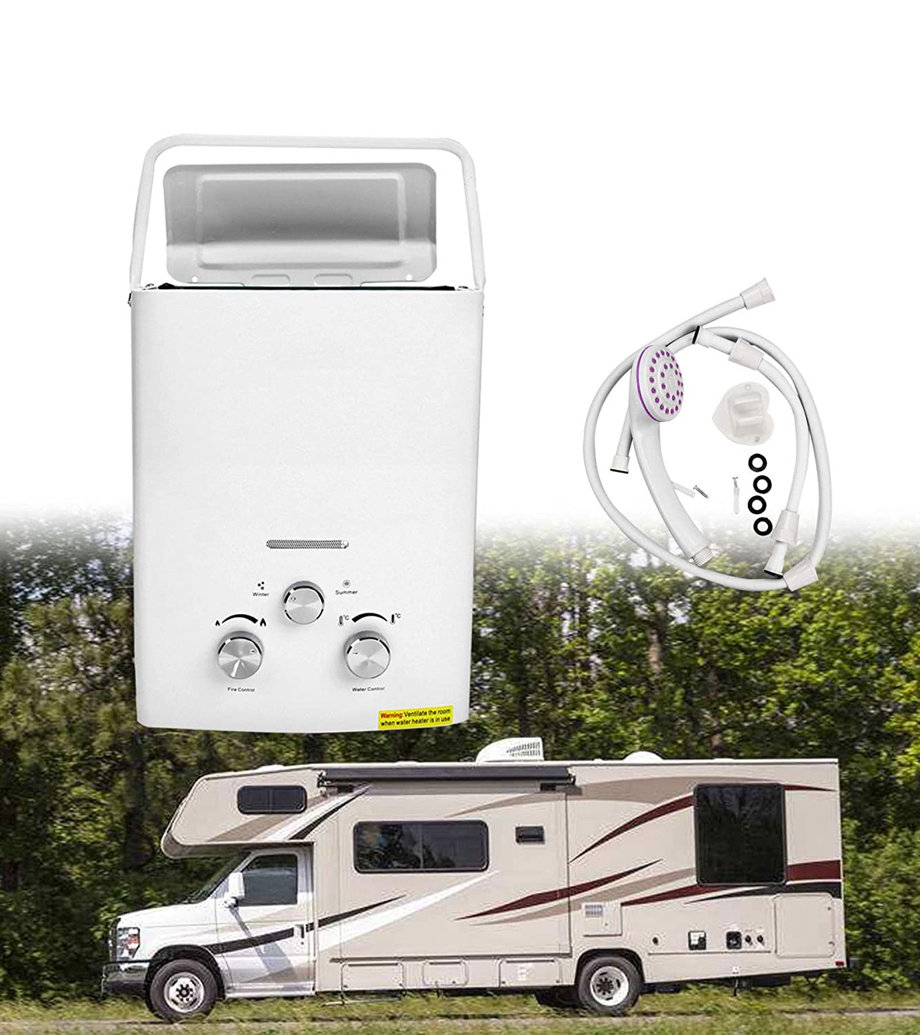 BLACKHORSE-RACING 6L 12KW Portable Tankless Hot Water Heater 2 GPM RV's & Campers Propane Gas LPG