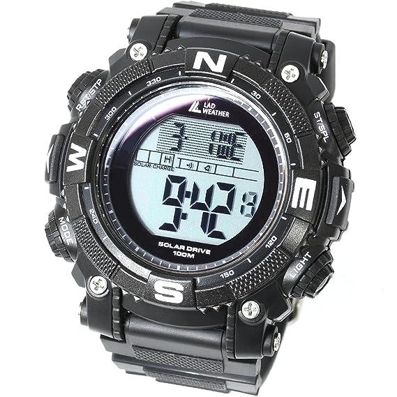 [LAD WEATHER] Reloj digital batería solar superpotente Militar 100 metros resistente al agua LAP SPLIT Alarma Hombre Relojes de pulsera: Amazon.es: Relojes