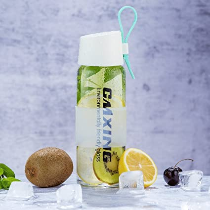Botella de Agua Cristal 450ml, CMXING Botella de Agua Reutilizable15 oz,sin BPA portátil
