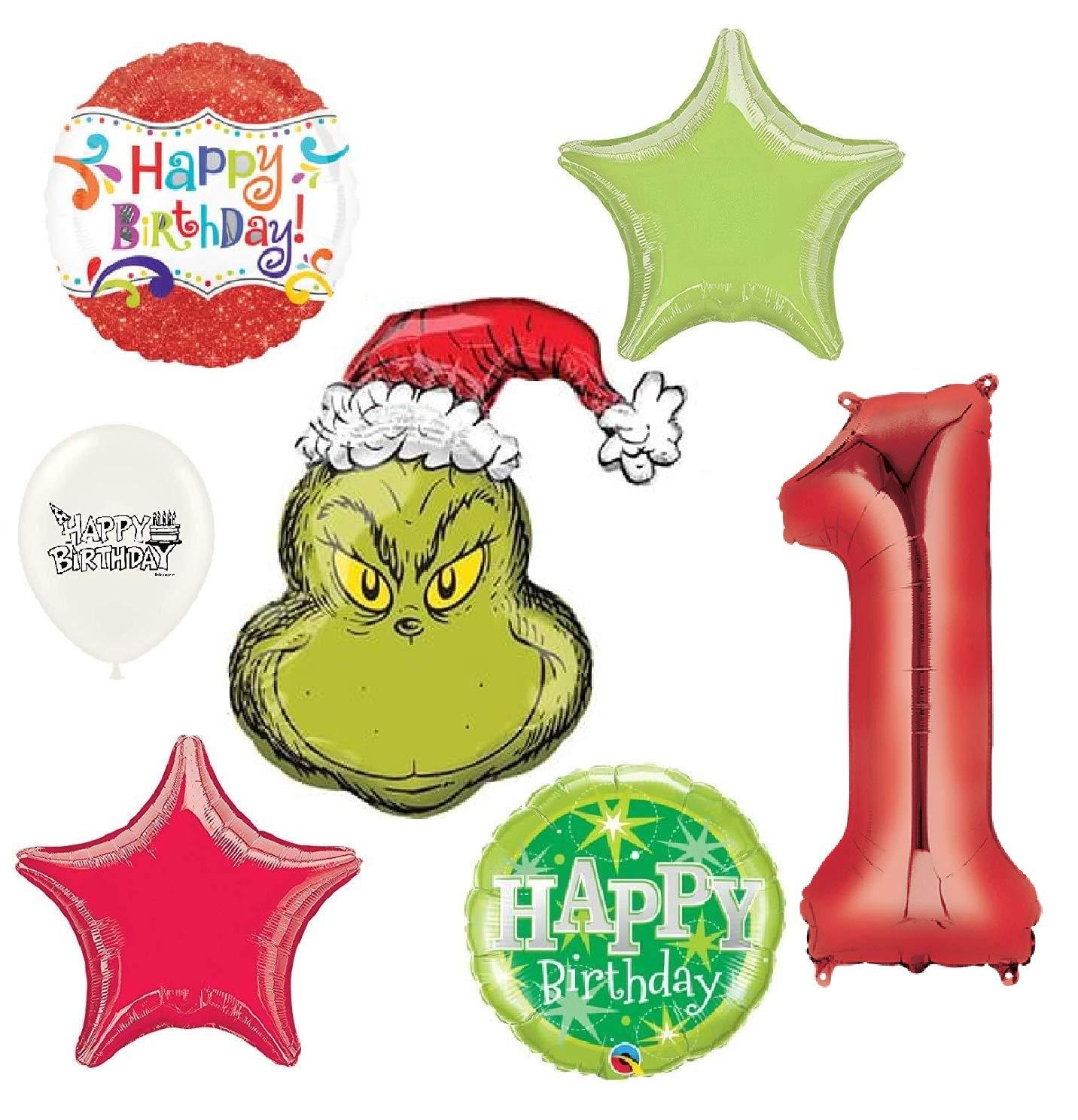 The Grinch Wishes You a Happy 1歳の誕生日パーティーデコレーションバルーンブーケバンドル   B07HKX711N