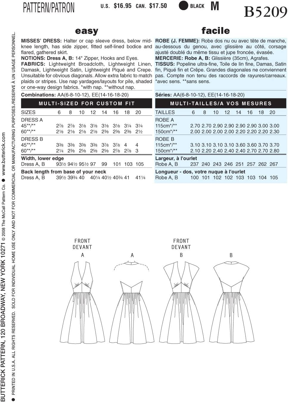 BUTTERICK B5209 en ingl/és y alem/án 2 Modelos Diferentes Patr/ón de Costura para Confeccionar Vestido Retro de Mujer