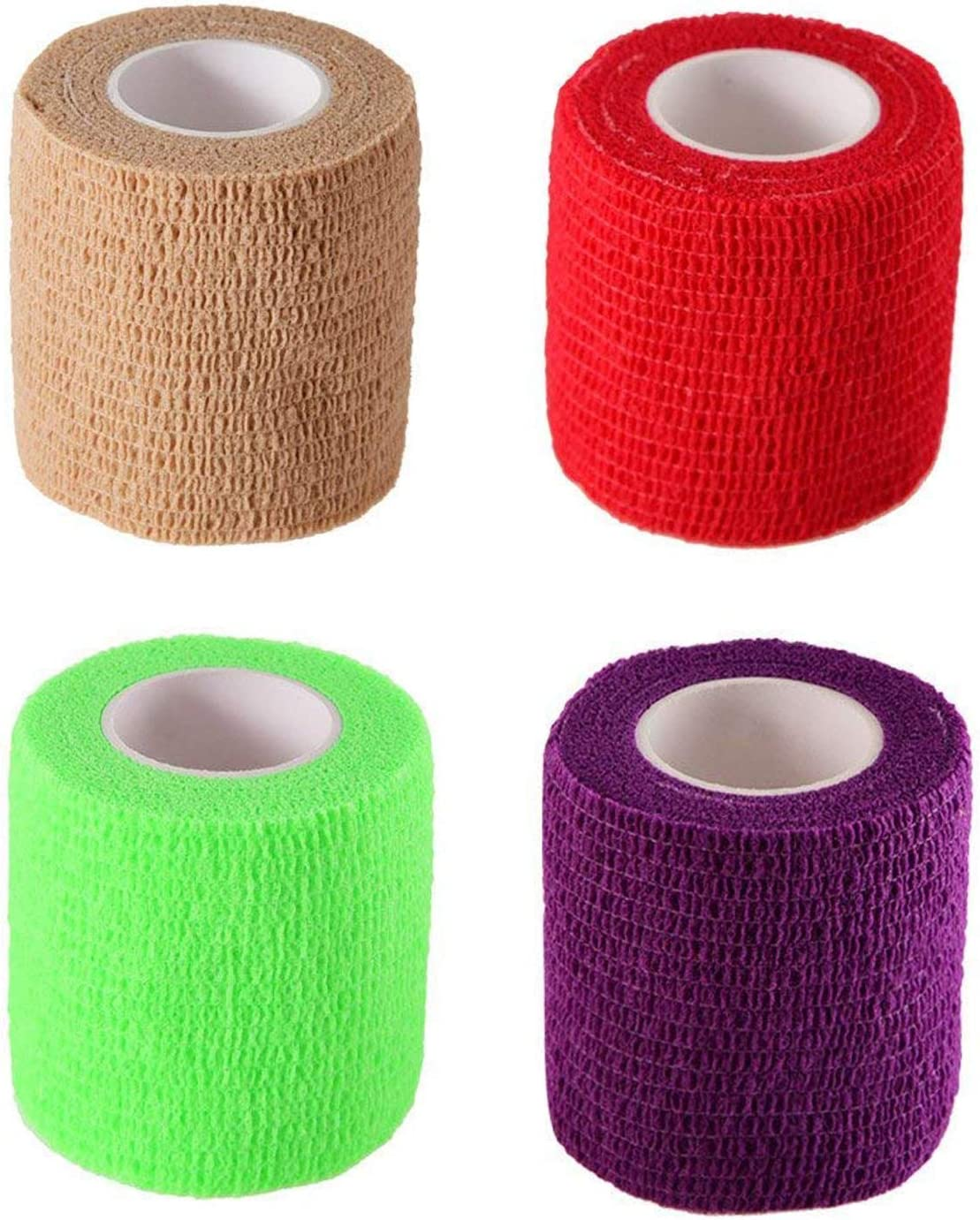 MIFASOO Yards Self Adherent Wrap Adhesive Bandage Tape for Strong Elastic Sports,Wrist,Ankle Sprains & Swelling (4 Pack)