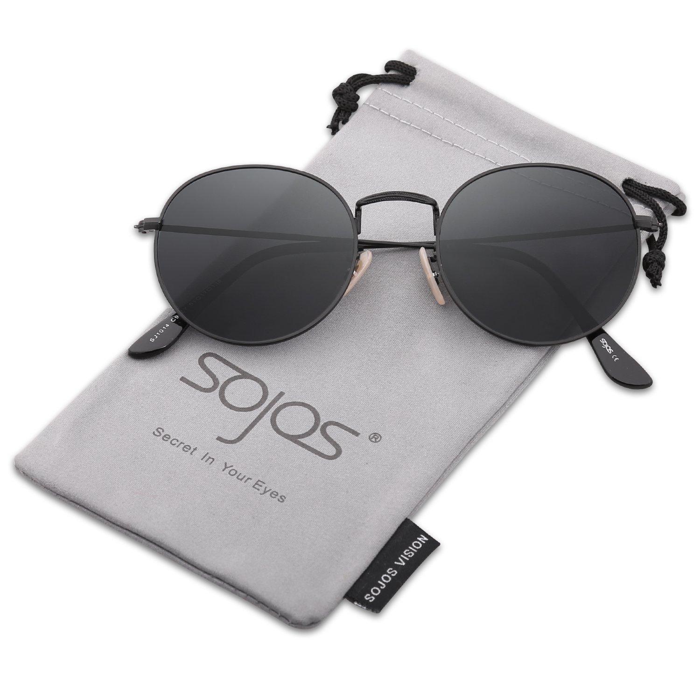 SojoS Round Vintage Mirror Lenses Shiny UV protection Polarized ...