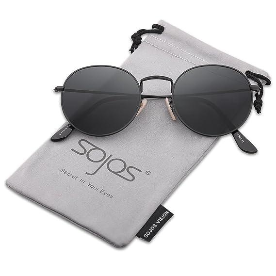 e8a9b89b0b SOJOS Small Round Polarized Sunglasses Mirrored Lens Unisex Glasses SJ1014  3447 with Black Frame Grey