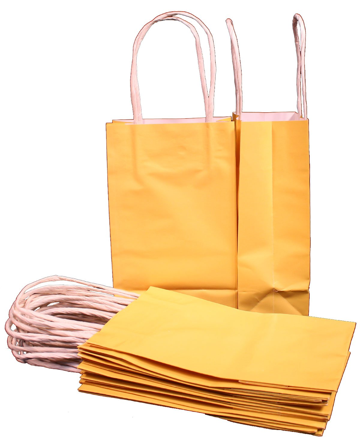 Paper bag yellow - Amazon Com Creative Hobbies 24 Yellow Small Paper Gift Handle Bags Approx 5 25 X 3 X 8 5 Size Shopper Wedding Wholesale Lot Home Kitchen