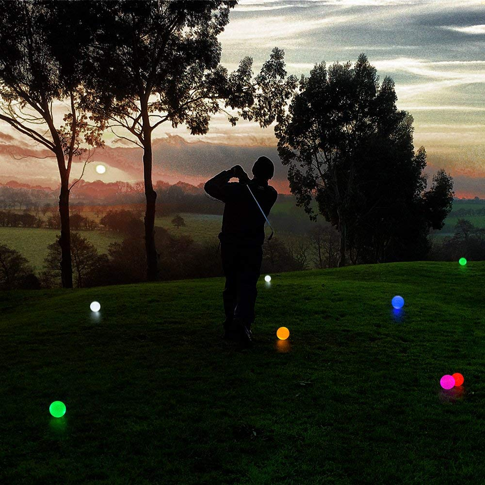 Crestgolf Flashing Glowing Golf Ball,Night Glow Flash Light up LED Golf Ball (6 Pack),six Color for Your Choice (Mixed Color) by Crestgolf