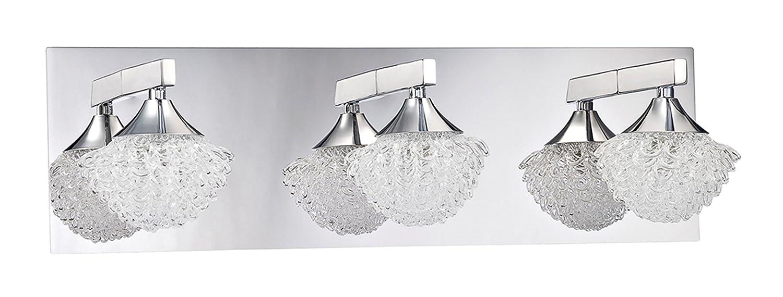 Kendal Lighting vf4300 – 3l-chつらら23-light Vanity器具クローム仕上げ、カールIceアートガラスシェード B00M5JV56W