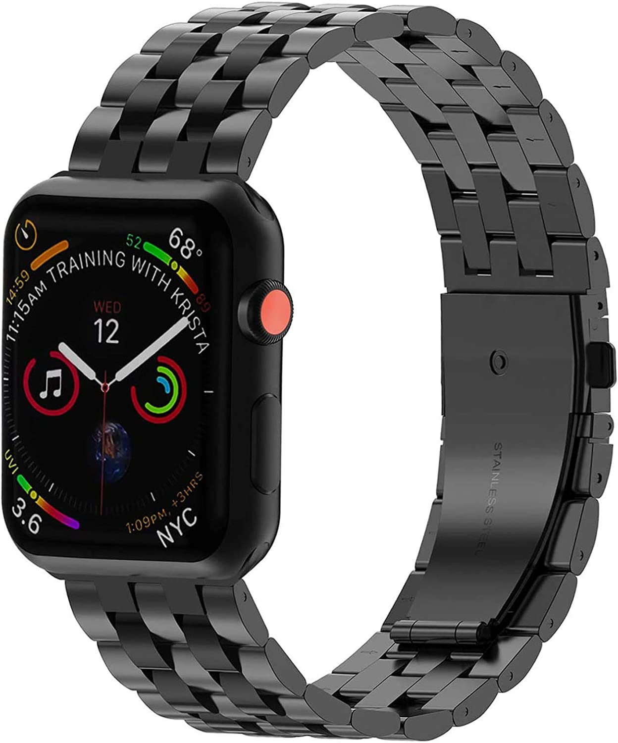 PUGO TOP Replacement for Apple Watch Band 38mm 40mm 42mm 44mm Stainless Steel Metal Iwatch Iphone Watch Link Band for Apple Watch Series 6/5/4/3/2/1/SE
