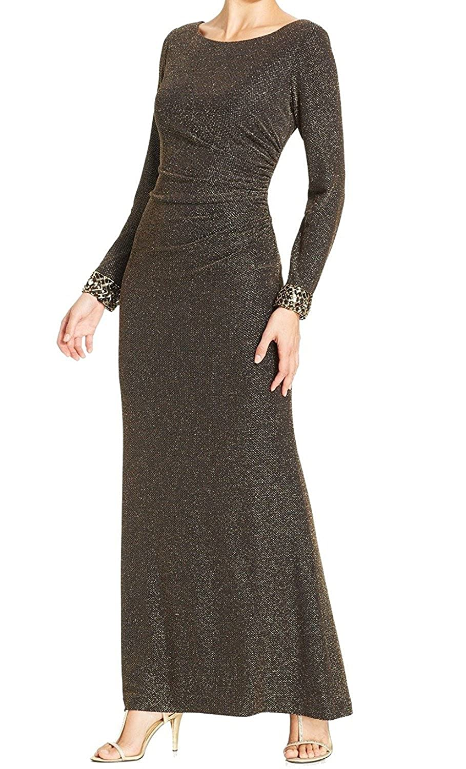 Patra Embellished-Sleeve Metallic Black Gold Evening Dress 14 (14 ...