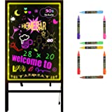 Woodsam Standing LED Board Sign - First Illuminated Easel with Neon Chalk Marker - Rustic Steel Vintage Decor for School, Wed