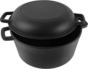 MixRBBQ Cast Iron Dutch Oven   5 Quart Cast Iron Multi Cooker Stock Pot For Frying, Cooking, Baking & Broiling on Induction, Electric, Gas & In Oven