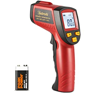 AstroAI Digital Laser Infrared Thermometer, 380 Non-contact Temperature Gun with Range of -58℉~716℉ (-50℃~380℃), Red